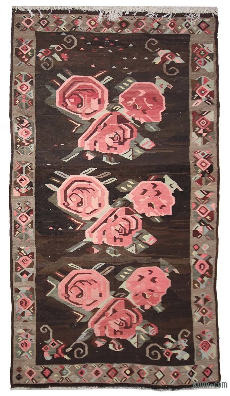 Kahverengi, Pembe Karabağ Kilimi - 190 cm x 340 cm - K0033908