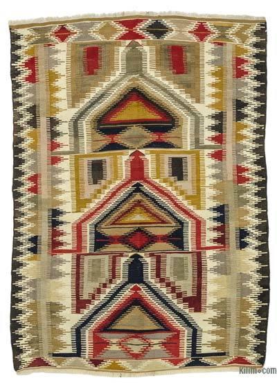 Multicolor Alfombra Konya Kilim Vintage - 120 cm x 172 cm