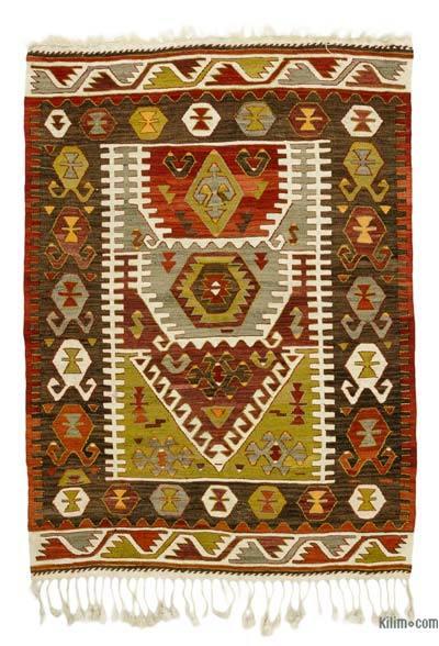 """Vintage Konya Kilim Rug - 3' 8"""" x 5' 1"""" (44 in. x 61 in.)"""