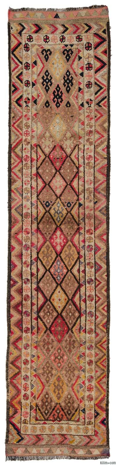 "Multicolor Vintage Turkish Runner Rug - 2' 10"" x 11' 11"" (34 in. x 143 in.)"