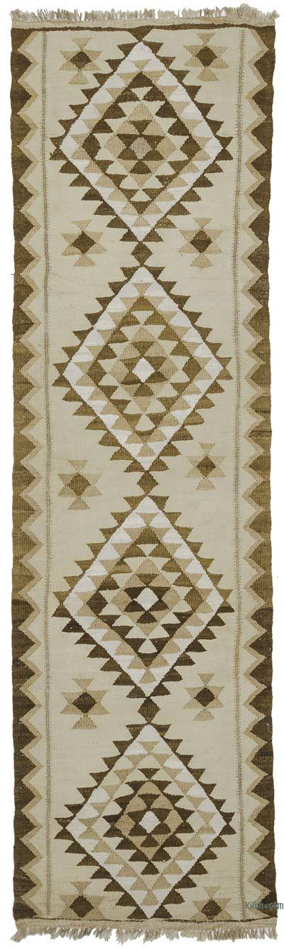 "Vintage Turkish Kilim Runner - 2' 9"" x 10'  (33 in. x 120 in.)"