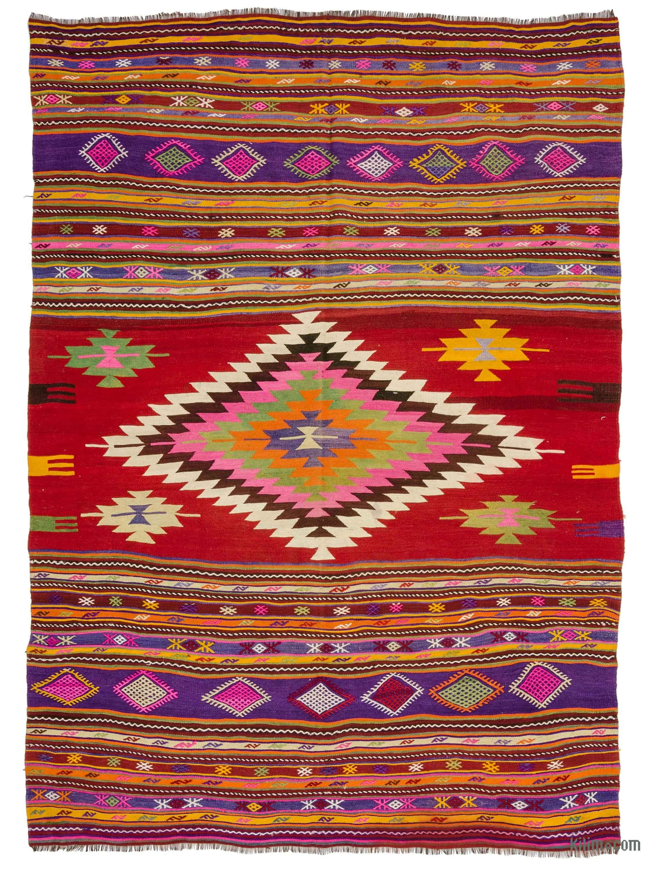 Multicolor Vintage Turkish Kilim Rug