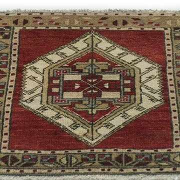 """Vintage Turkish Hand-Knotted Rug - 1' 8"""" x 1' 9"""" (20 in. x 21 in.) - K0034121"""