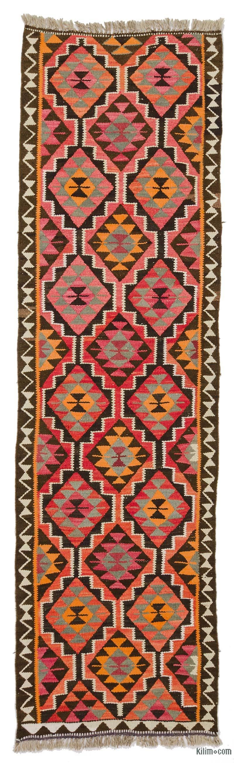 "Multicolor Vintage Turkish Kilim Runner - 2' 11"" x 10' 4"" (35 in. x 124 in.) - K0034213"