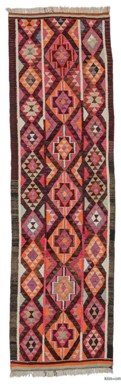 Multicolor Kilim Vintage Turco De Pasillo - 90 cm x 312 cm