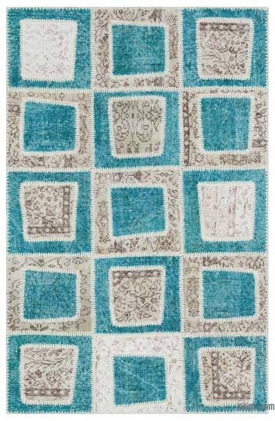 "Over-dyed Turkish Patchwork Rug - 3' 11"" x 6'  (47 in. x 72 in.)"