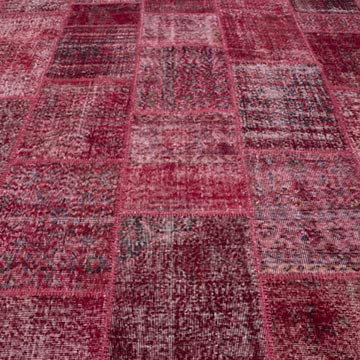 """Red Patchwork Hand-Knotted Turkish Rug - 9' 1"""" x 12'  (109 in. x 144 in.) - K0034500"""