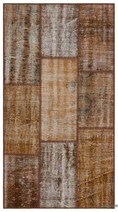 "Over-dyed Turkish Patchwork Rug - 2' 8"" x 5'  (32 in. x 60 in.)"