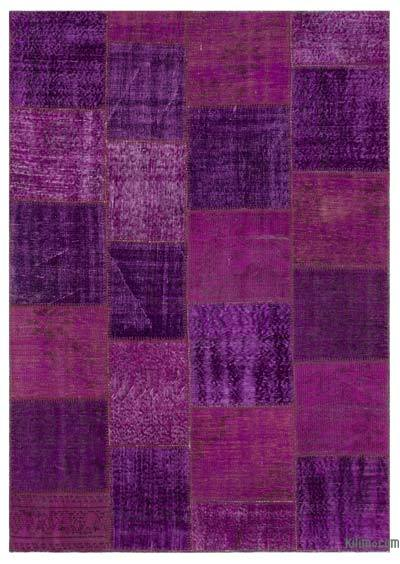"""Purple Patchwork Hand-Knotted Turkish Rug - 5' 3"""" x 7' 7"""" (63 in. x 91 in.)"""