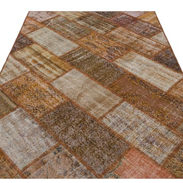 """Brown Patchwork Hand-Knotted Turkish Rug - 5' 3"""" x 7' 7"""" (63 in. x 91 in.) - K0034612"""