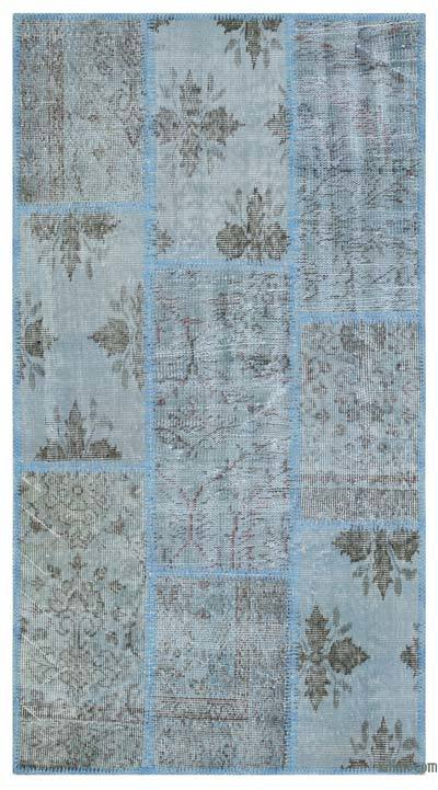 "Over-dyed Turkish Patchwork Rug - 2' 7"" x 4' 11"" (31 in. x 59 in.)"