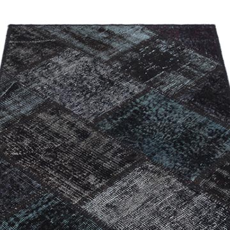 Siyah Boyalı Patchwork Halı - 80 cm x 150 cm - K0034654
