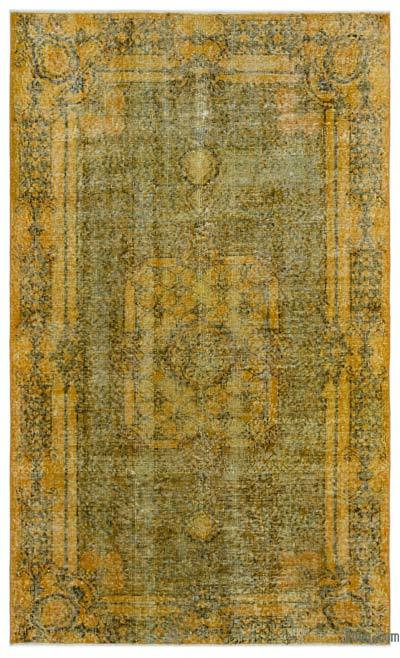 Boyalı El Dokuma Vintage Halı - 120 cm x 202 cm