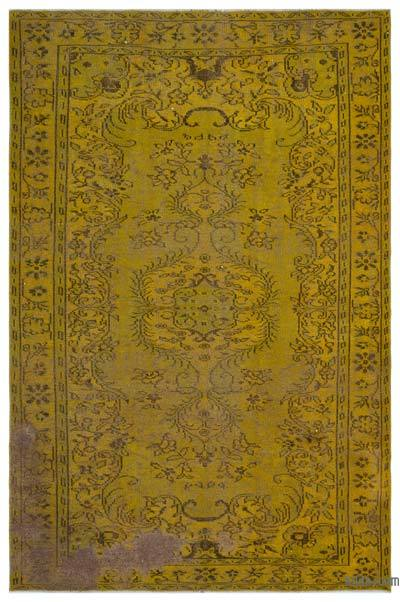 """Over-dyed Turkish Vintage Rug - 6' 6"""" x 9' 5"""" (78 in. x 113 in.)"""