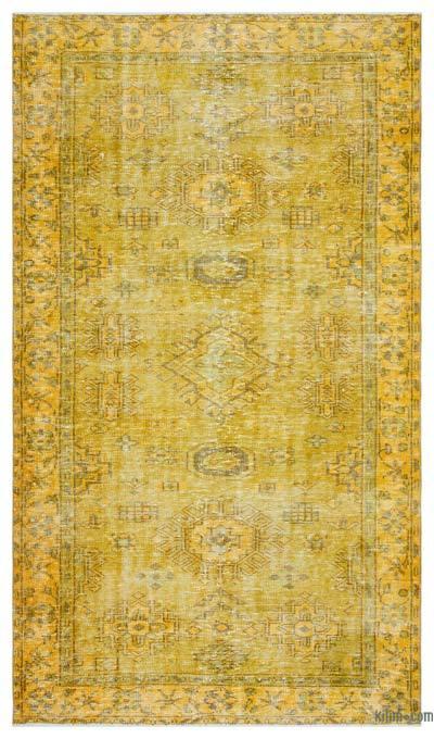 Boyalı El Dokuma Vintage Halı - 148 cm x 258 cm