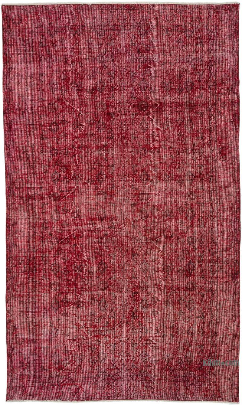 """Red Over-dyed Turkish Vintage Rug - 5'  x 8' 4"""" (60 in. x 100 in.) - K0035223"""