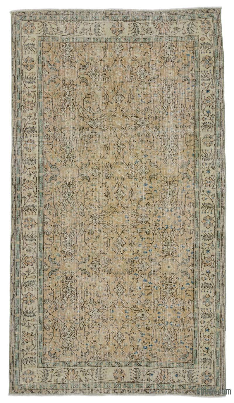 "Beige Vintage Turkish Hand-Knotted Rug - 5' 3"" x 9' 5"" (63 in. x 113 in.) - K0035254"
