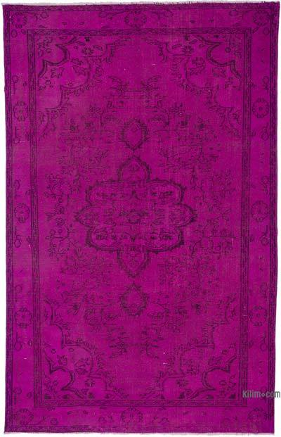 "Fuchsia Over-dyed Turkish Vintage Rug - 5' 10"" x 9'  (70 in. x 108 in.)"