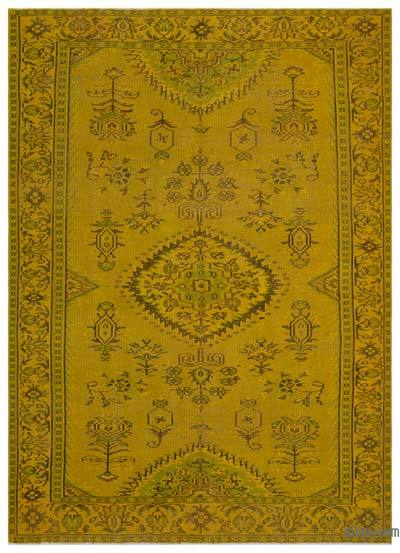 """Over-dyed Turkish Vintage Rug - 6' 4"""" x 8' 10"""" (76 in. x 106 in.)"""