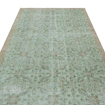 """Green Vintage Turkish Hand-Knotted Rug - 5' 1"""" x 8' 10"""" (61 in. x 106 in.) - K0035371"""