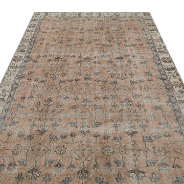 """Vintage Turkish Hand-Knotted Rug - 5' 3"""" x 9' 1"""" (63 in. x 109 in.) - K0035373"""