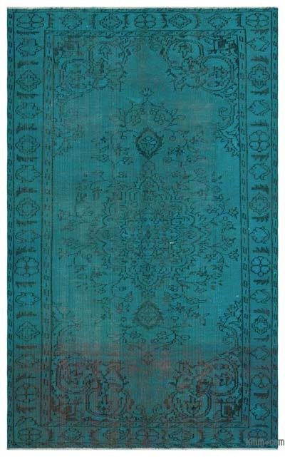Boyalı El Dokuma Vintage Halı - 162 cm x 265 cm
