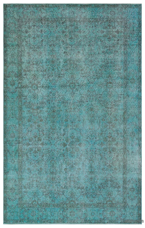 Turquoise Over Dyed Turkish Vintage Rug