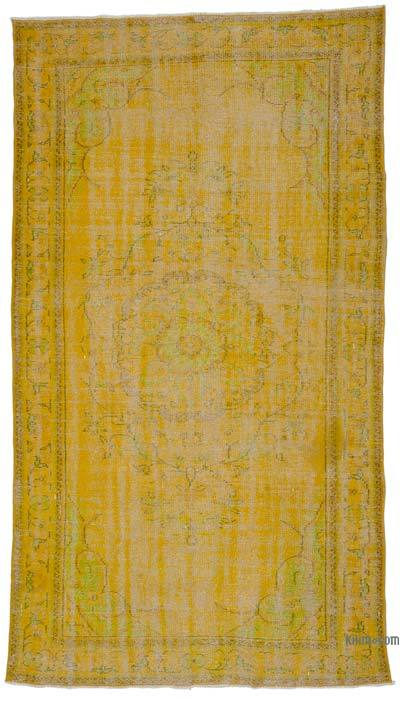 "Yellow Over-dyed Turkish Vintage Rug - 5' 3"" x 9' 4"" (63 in. x 112 in.)"