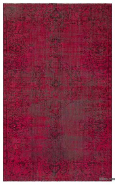 Boyalı El Dokuma Vintage Halı - 146 cm x 238 cm