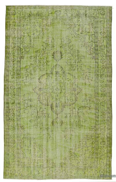 "Green Over-dyed Turkish Vintage Rug - 5' 6"" x 9'  (66 in. x 108 in.)"