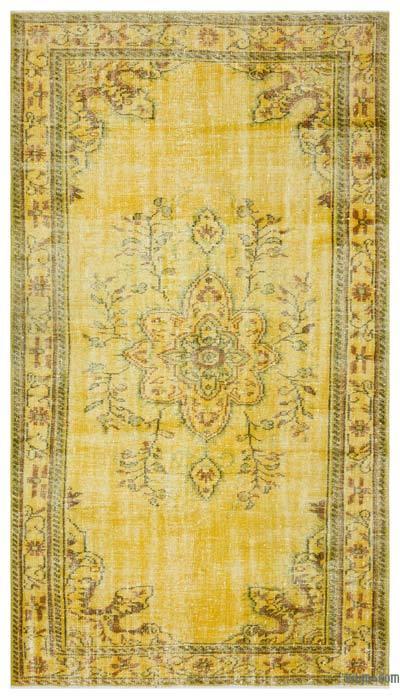 Boyalı El Dokuma Vintage Halı - 156 cm x 275 cm