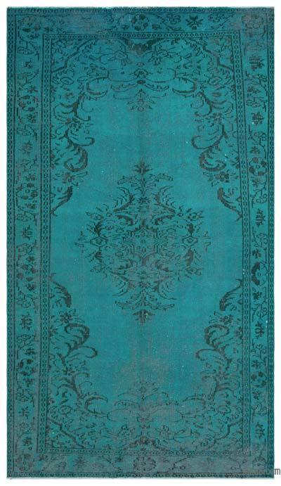 Boyalı El Dokuma Vintage Halı - 159 cm x 282 cm
