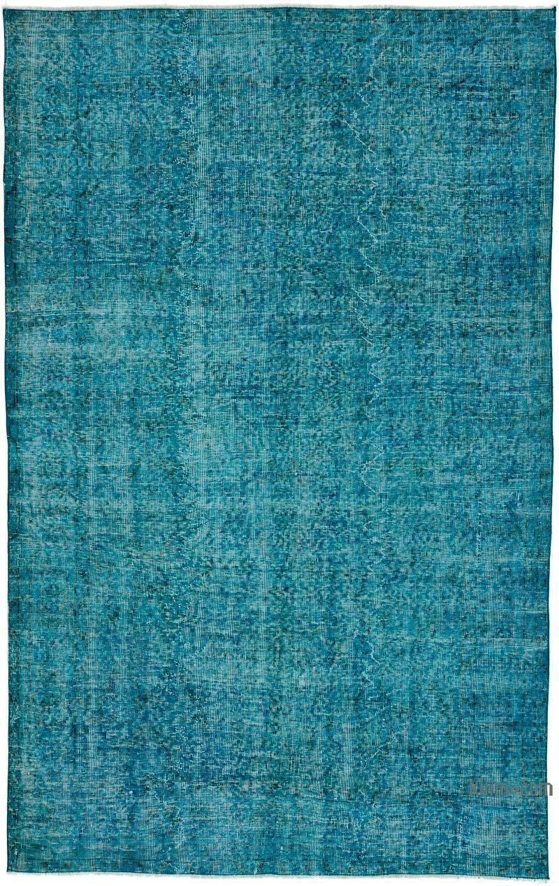Aqua Over-dyed Turkish Vintage Rug - 5' 5# x 8' 6# (65 in. x 102 in.) - K0035952