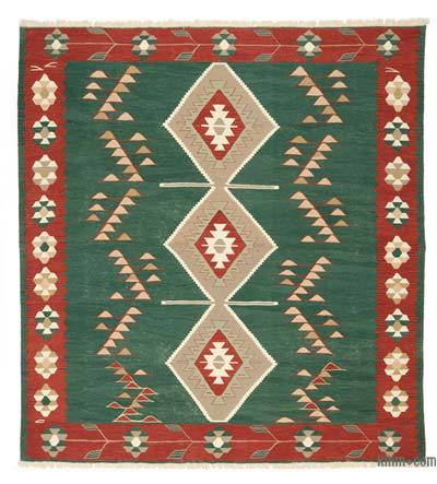 "New Handwoven Turkish Kilim Rug - 9'2"" x 10'1"" (110 in. x 121 in.)"