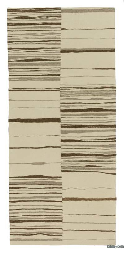"Beige, Brown New Handwoven Turkish Kilim Rug - 2' 5"" x 5' 4"" (29 in. x 64 in.)"