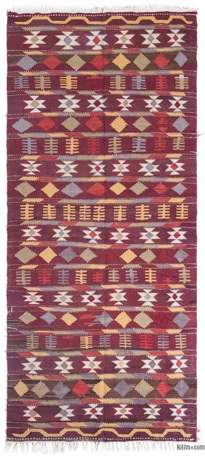 "Red Vintage Antalya Kilim Rug - 4' 9"" x 11'  (57 in. x 132 in.)"