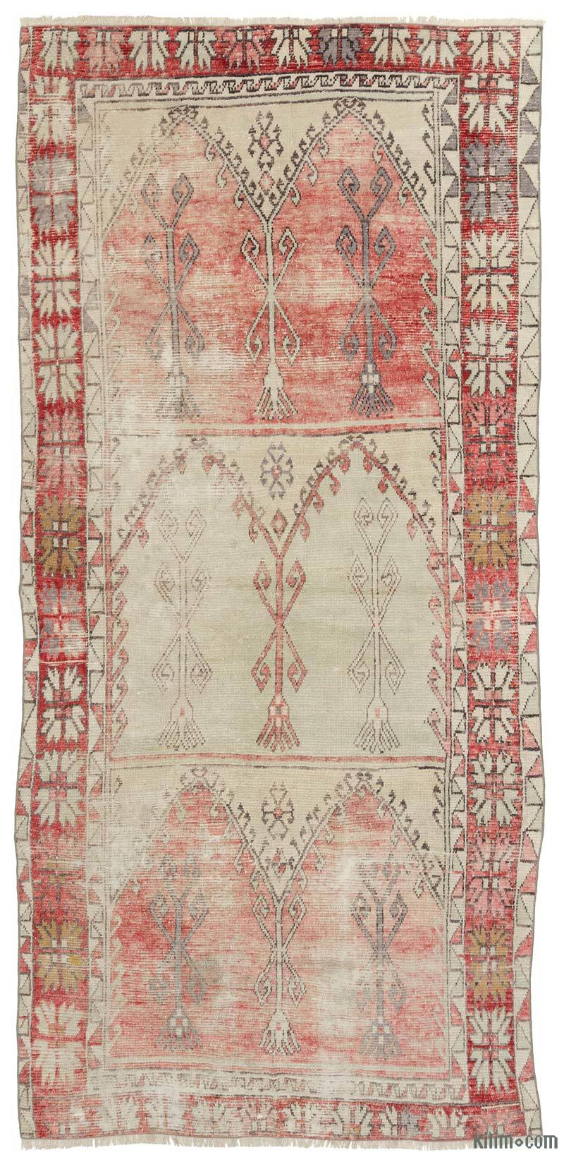 """Vintage Turkish Hand-Knotted Rug - 4' 10"""" x 10' 3"""" (58 in. x 123 in.) - K0036160"""