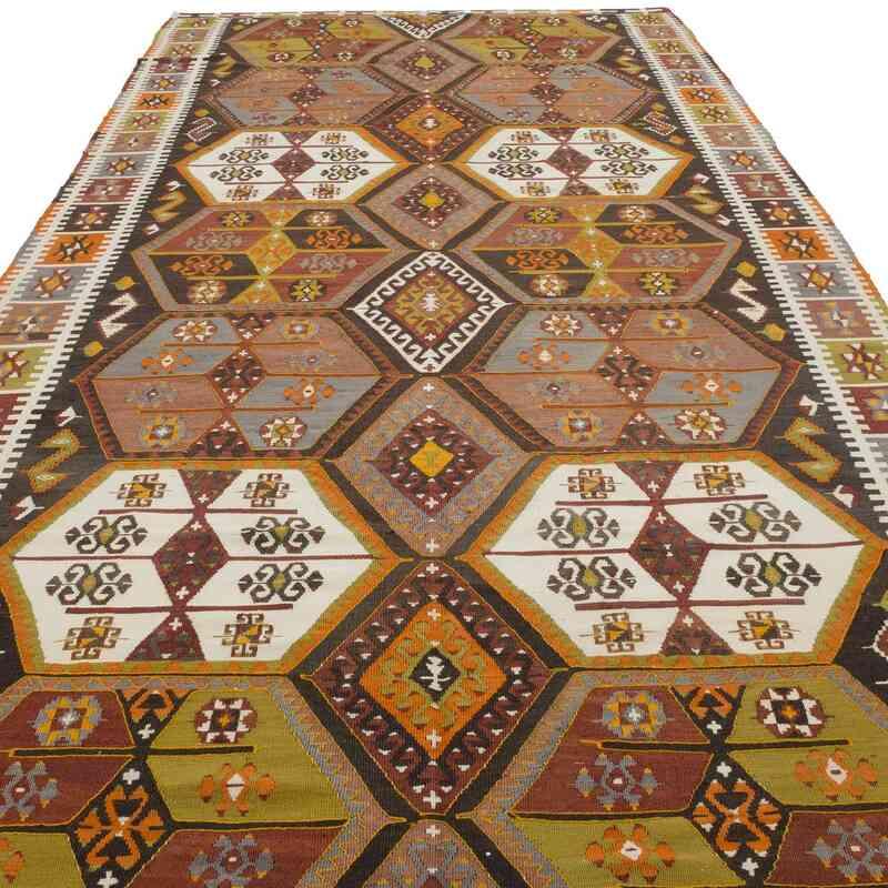 Multicolor Vintage Sivas Kilim Rug - 5' 7# x 14' 1# (67 in. x 169 in.) - K0036211