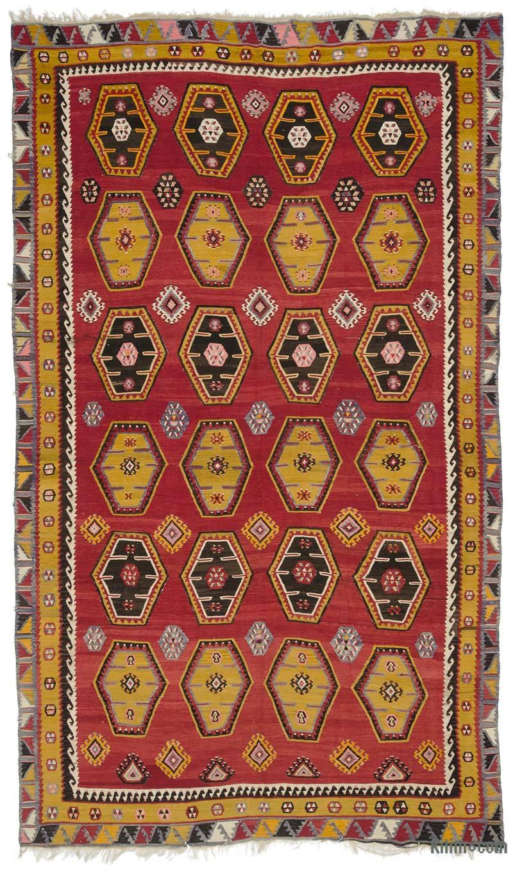 Rojo Alfombra Vintage Sarkisla Kilim - 210 cm x 355 cm - K0036217