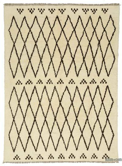 "Beige, Brown New Turkish Tulu Rug - 8' 8"" x 11' 8"" (104 in. x 140 in.)"
