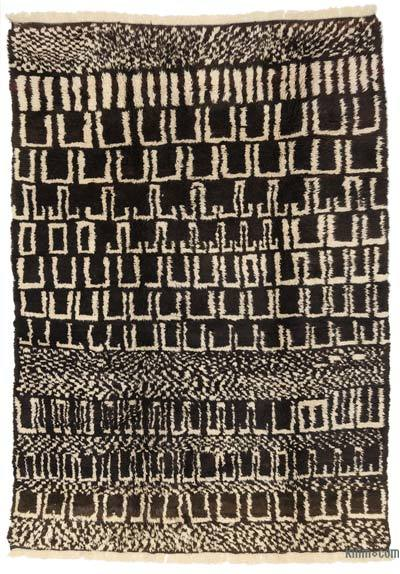 "Brown, Beige New Turkish Tulu Rug - 7' 7"" x 10' 8"" (91 in. x 128 in.)"