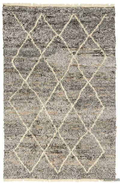 "Brown, Beige New Turkish Tulu Rug - 6' 2"" x 9' 5"" (74 in. x 113 in.)"