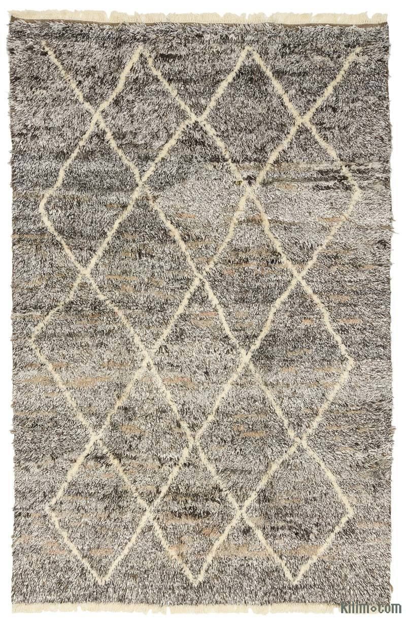 """Brown, Beige Moroccan Style Hand-Knotted Tulu Rug - 6' 2"""" x 9' 5"""" (74 in. x 113 in.) - K0036300"""