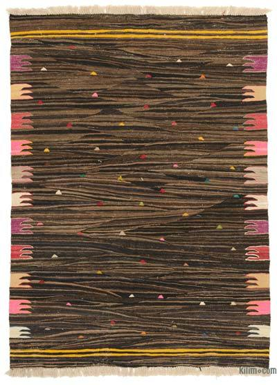 "Brown New Handwoven Turkish Kilim Rug - 4' 3"" x 5' 10"" (51 in. x 70 in.)"