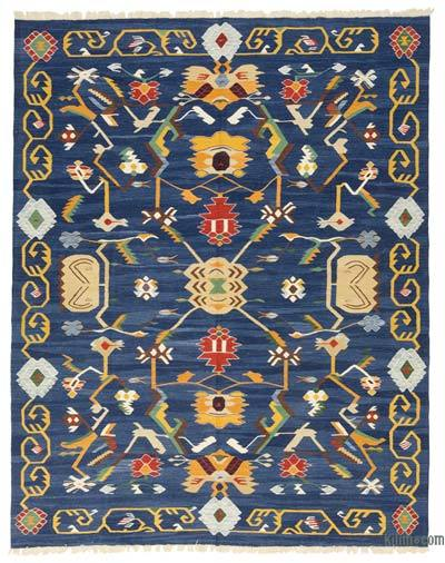 "Blue New Handwoven Turkish Kilim Rug - 8' 2"" x 10' 3"" (98 in. x 123 in.)"