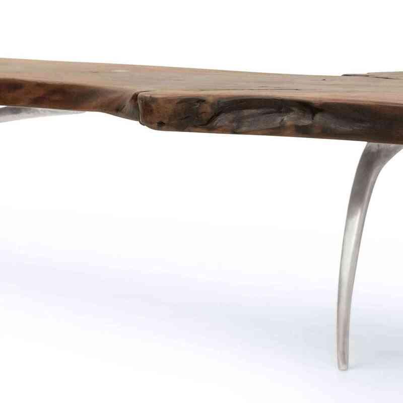 Walnut Slab Coffee Table with Cast Aluminium Legs - K0036503