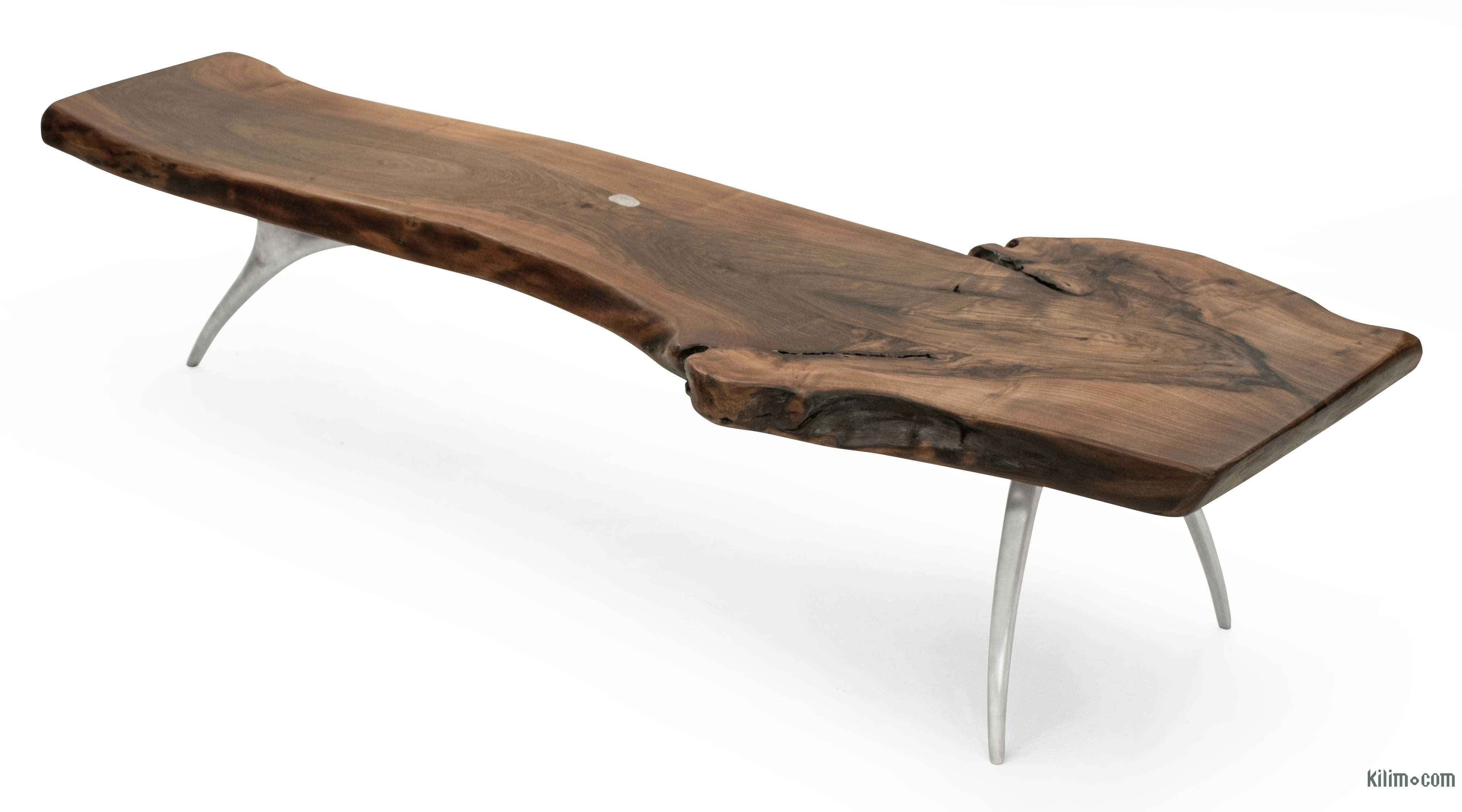 - K0036503 Walnut Slab Coffee Table With Cast Aluminium Legs The