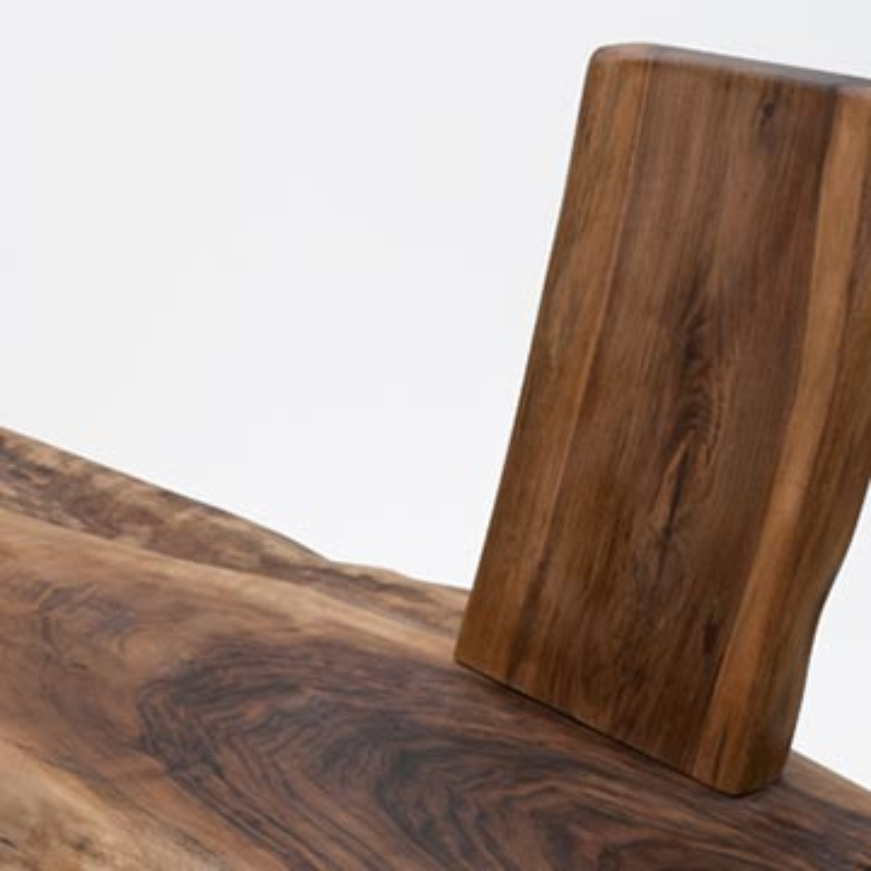 Unique Walnut Slab Bench with Backrest - K0036504