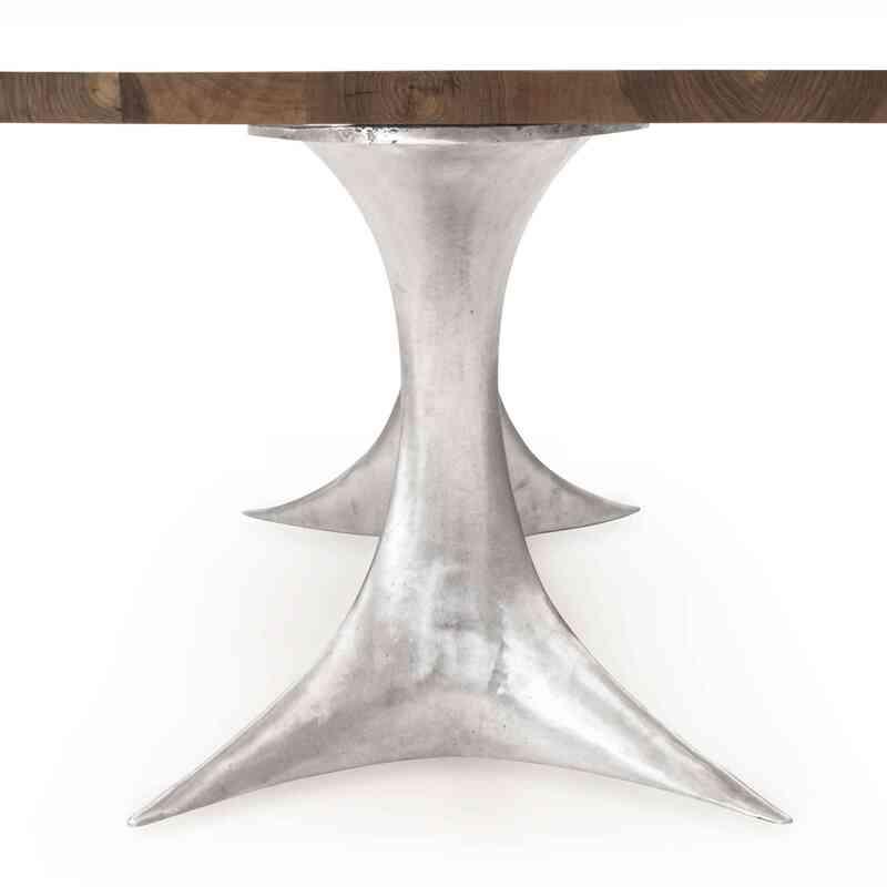 Döküm Aluminyum Bacaklı Masif Ceviz Yemek Masası - K0036507