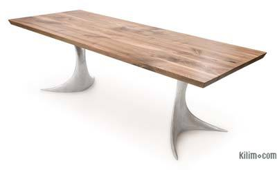 Walnut Table with Sand Cast Aluminium Legs